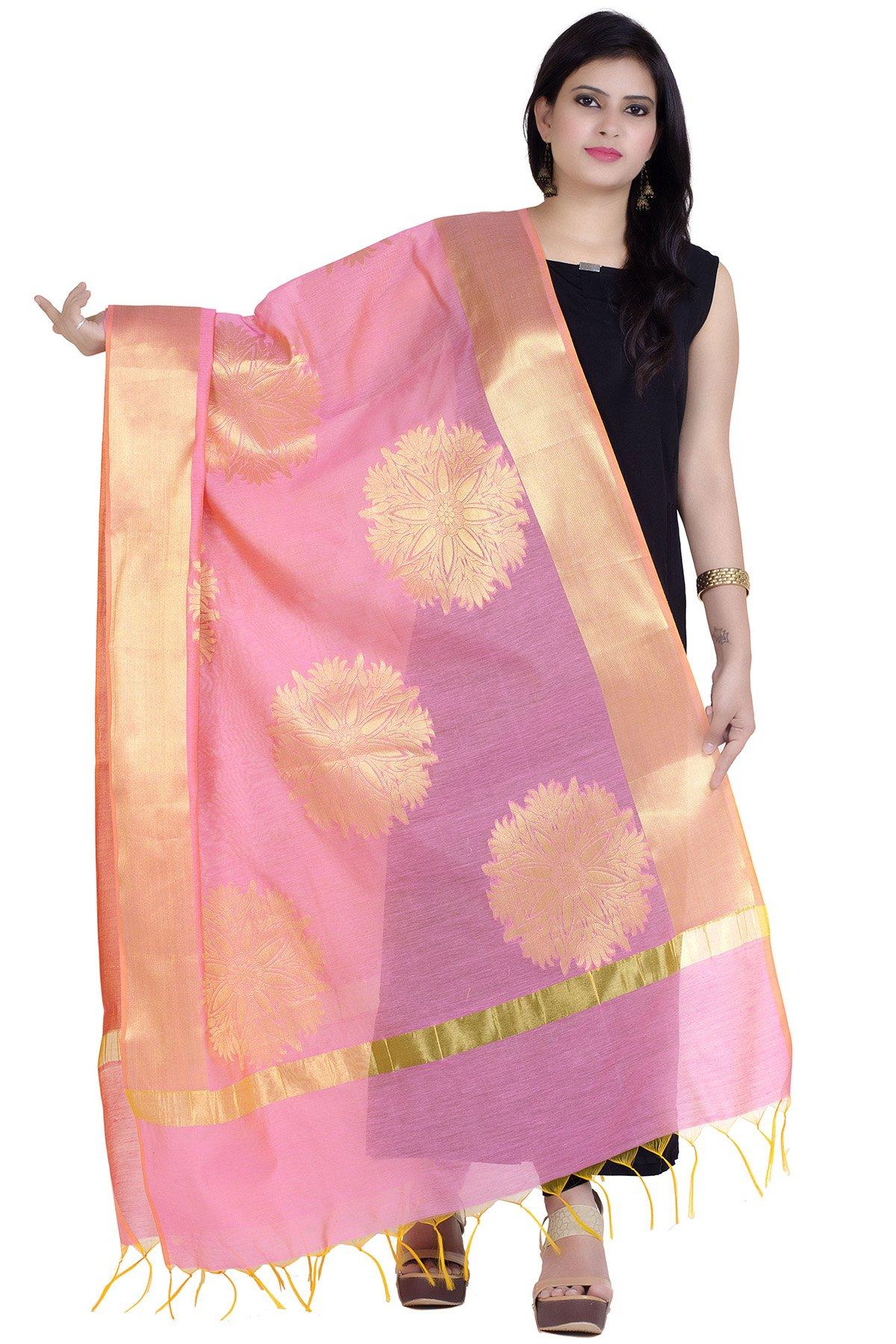 Chandrakala Women's Handwoven Zari Work Banarasi Dupatta Stole Scarf (Pink)
