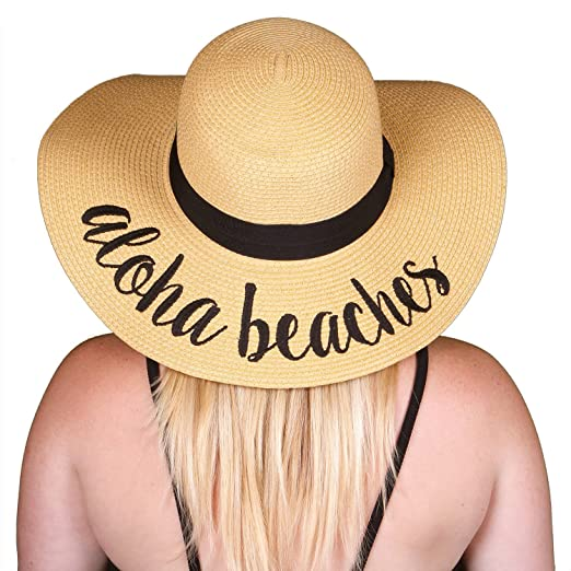 c99f821d1 Funky Junque Women's Bold Cursive Embroidered Adjustable Beach Floppy Sun  Hat