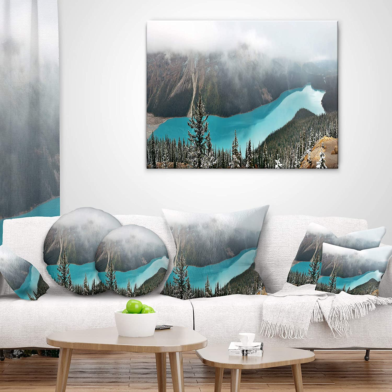 Designart CU11667-12-20 Beautiful Petyo Lake Panorama Landscape Printed Lumbar Cushion Cover for Living Room in Sofa Throw Pillow 12 in x 20 in
