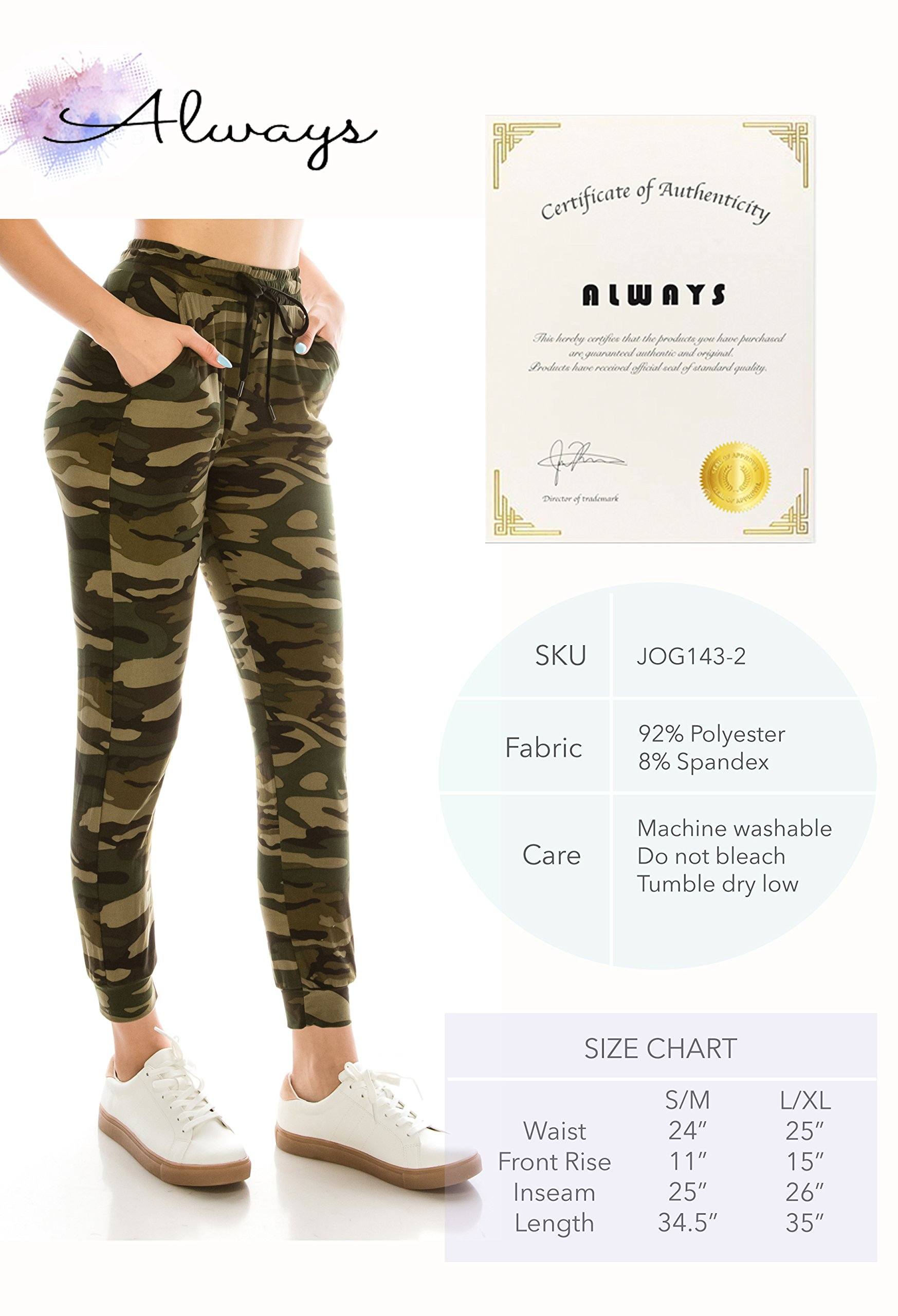 ALWAYS Women Drawstrings Jogger Sweatpants - Skinny Fit Premium Soft Stretch Camo Military Army Pockets Pants S/M by ALWAYS (Image #6)