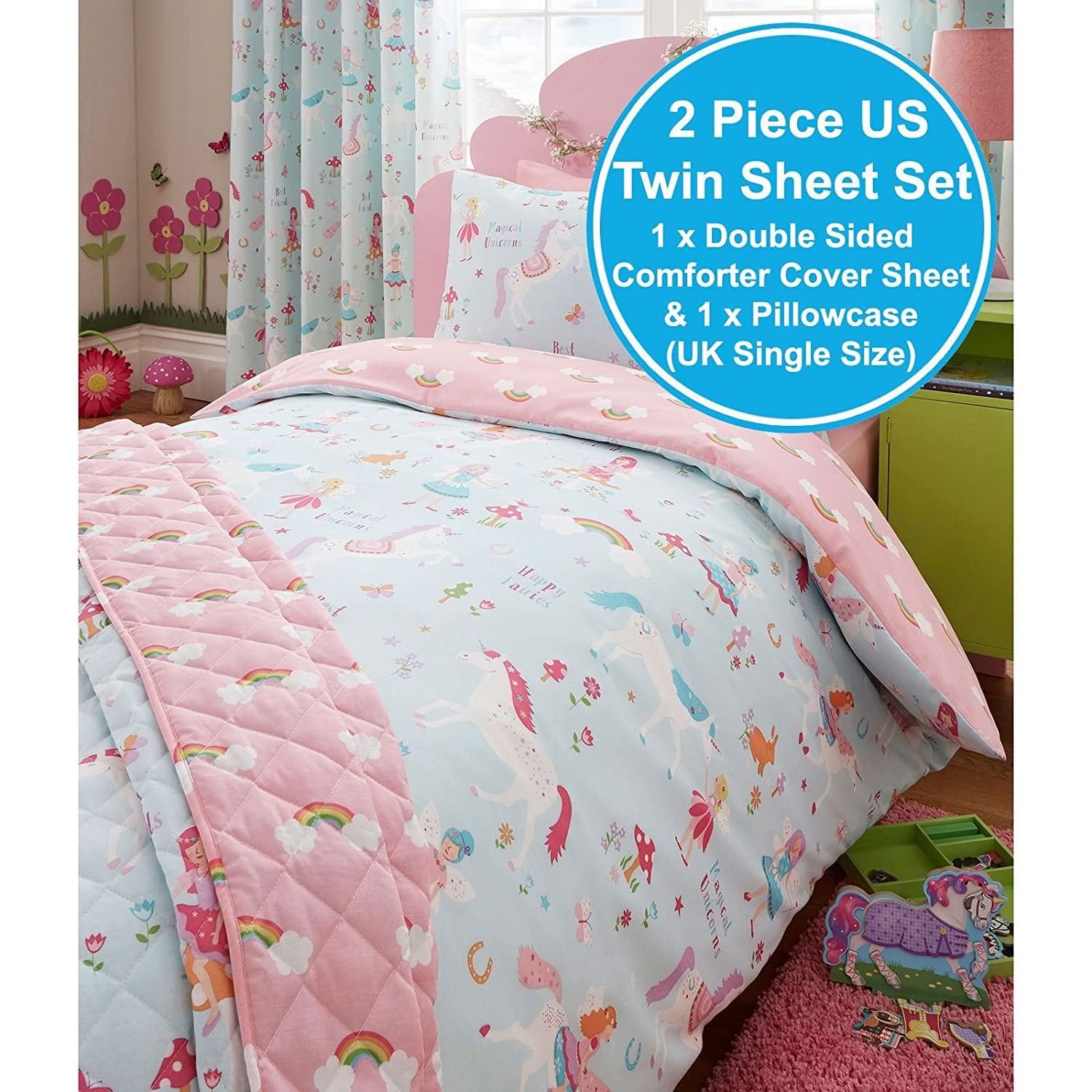 Amazon com  Magical Unicorn Single US Twin Duvet Cover and Pillowcase Set   Home   Kitchen. Amazon com  Magical Unicorn Single US Twin Duvet Cover and