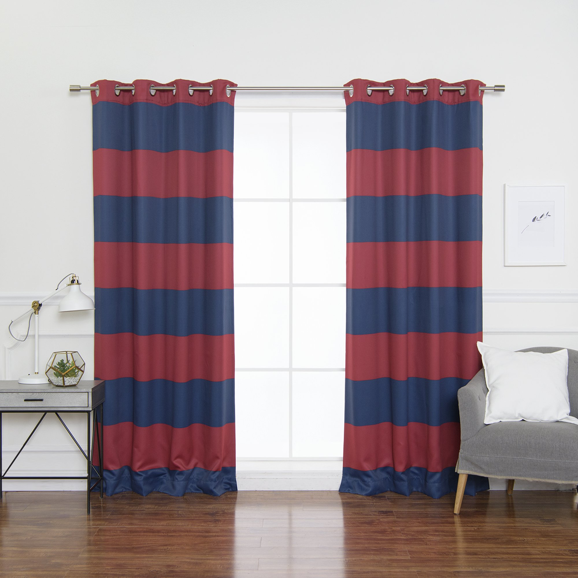 Best Home Fashion Rugby Stripe Room Darkening Curtains - Stainless Nickel Grommet - 52'' W x 84'' L - Navy.Red (Set of 2 Panels)