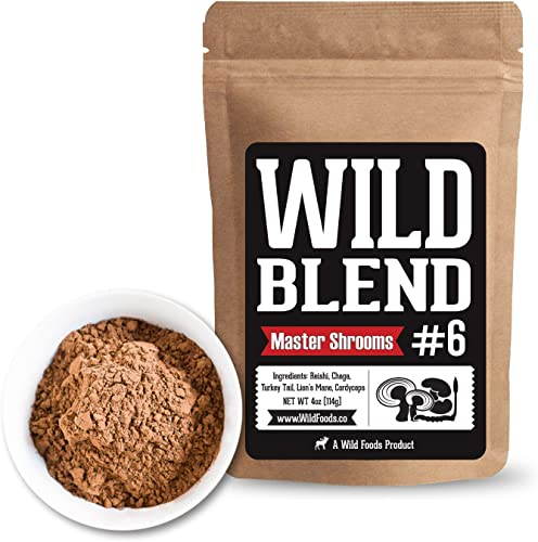 Wild Mushroom Extract Blend, Reishi, Chaga, Cordyceps, Turkey Tail, Lion s Mane Supplement for Smoothies, Shakes, Coffee Nootropic Mental Performance Master Blend 4 oz
