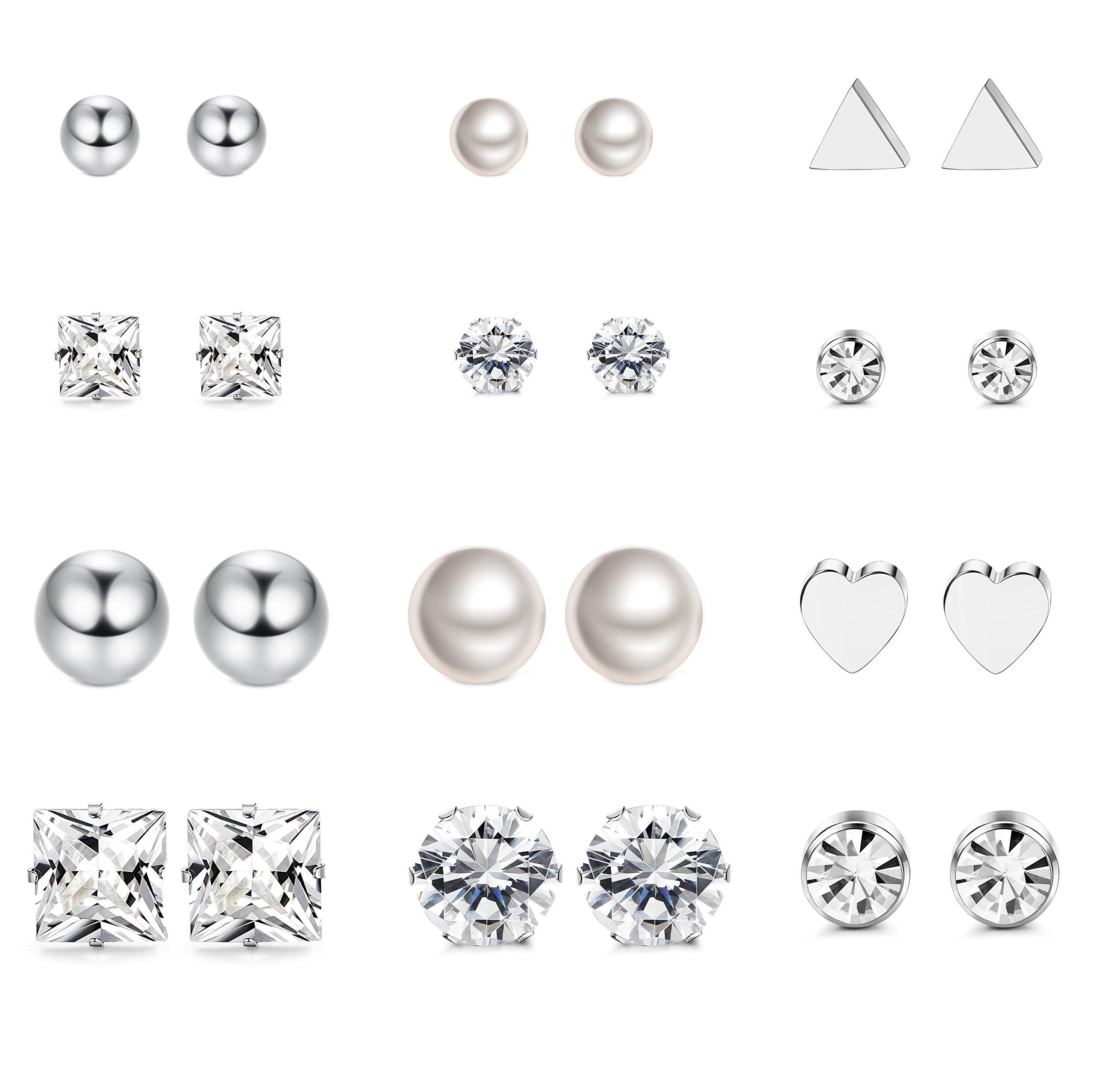 LOYALLOOK 12 Pairs Stainless Steel Earrings Stud Earrings Set for Womens Girls Clear CZ Stud