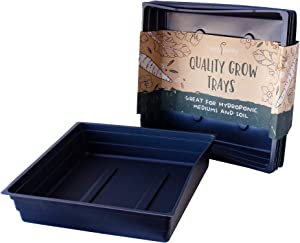 """10-Pack 1010 Garden Growing Trays Without Drain Holes - 10"""" x 10"""" Plastic Plant Trays No Holes - Wheatgrass Sprouting Tray, Microgreens Seed Tray, Hydroponic Trays, Nursery Flats, Greenhouse Supplies"""