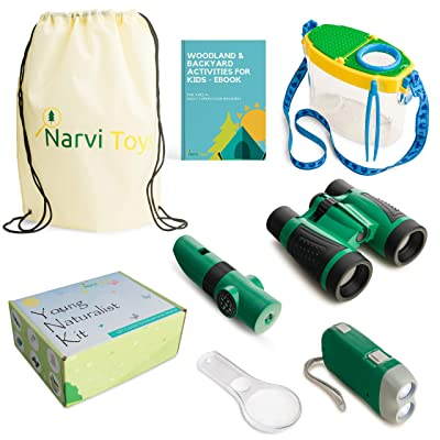 Narvi Toys-Outdoor Explorer Kit & Bug Catcher Kit-Binoculars, Magnifying Glass, Bug Catcher, Flashlight, 5 in 1 Tool, Great Kids Gift Set, STEM Toys, Educational Toys, Nature Toys for Camping, Hiking: Toys & Games