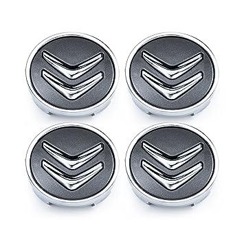 Meow Star Citroën 60 mm 4 Pac Llantas Aluminio Conector buje C2 C4 C5 C6 C de Cuatro Gris Cromo Logo: Amazon.es: Coche y moto