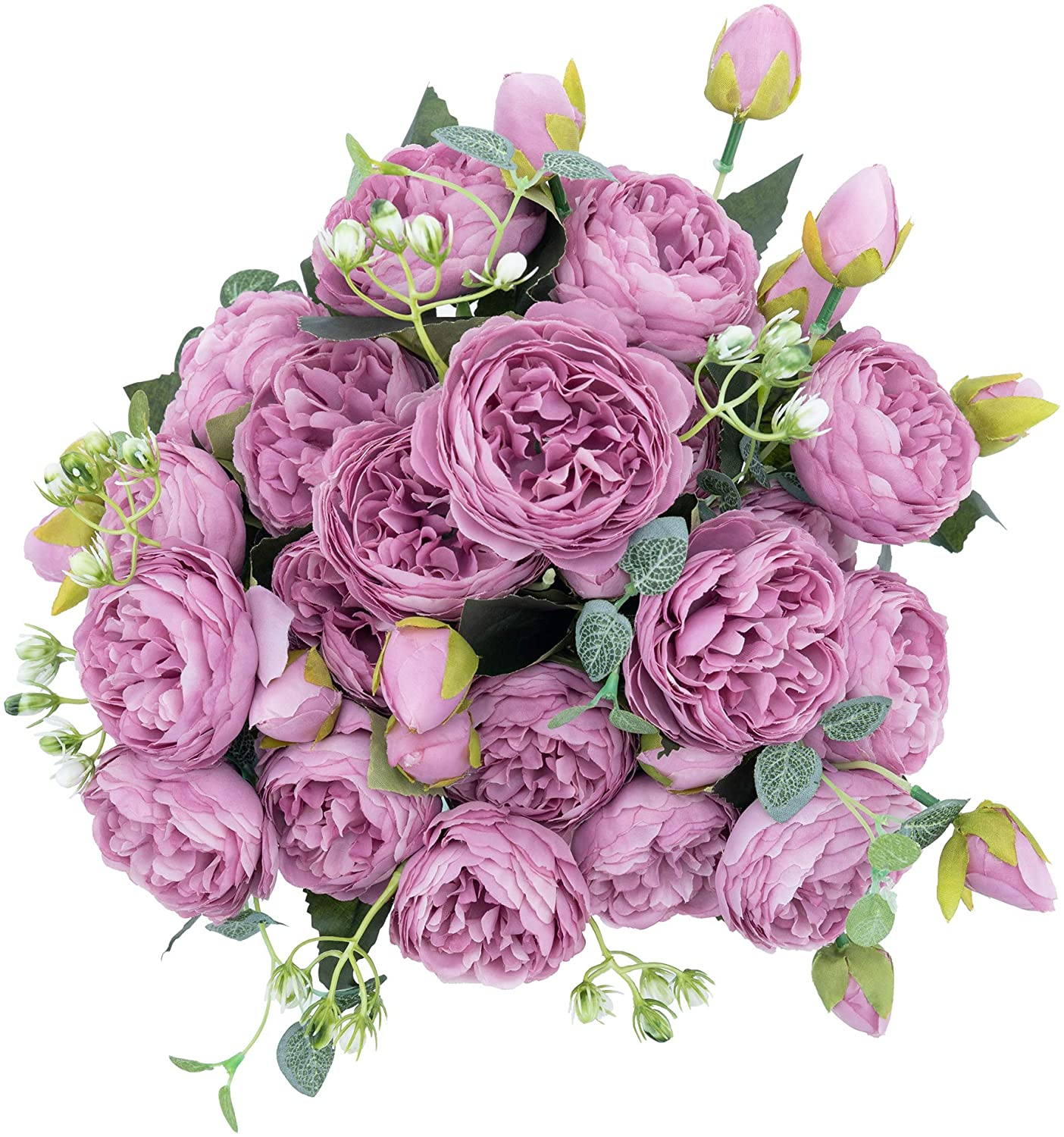 crazylove Artificial Silk Peony Flowers Fake Flower Purple Kitchen Bouquet Small Pieces Design for Home Wedding Decoration Indoor (4 Pack, Purple)