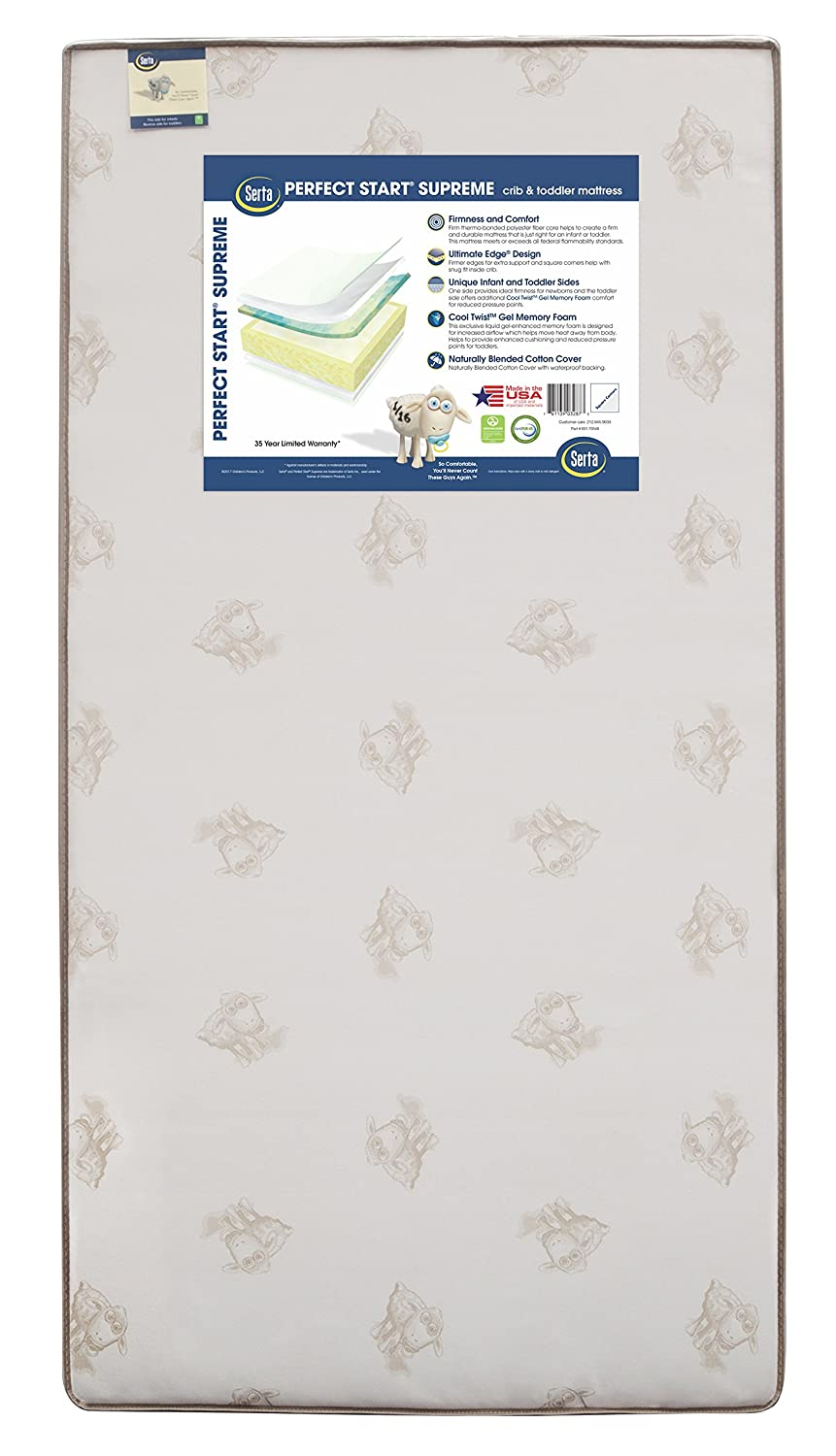 Serta Perfect Start Supreme Fiber Core/Memory Foam Crib and Toddler Mattress | Waterproof | GREENGUARD Gold Certified (Natural/Non-Toxic) Children's Products A41134-1026