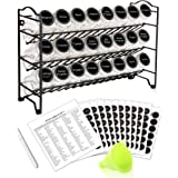 SWOMMOLY Spice Rack Organizer with 24 Empty Square Spice Jars, 396 Spice Labels with Chalk Marker and Funnel Complete Set, fo