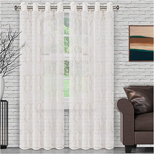 Best window curtain panel: SUPERIOR Quality Lightweight Embroidered Lattice Sheer Stainless Grommets Window Treatment Curtain Panel Set of 2 52″ x 108″