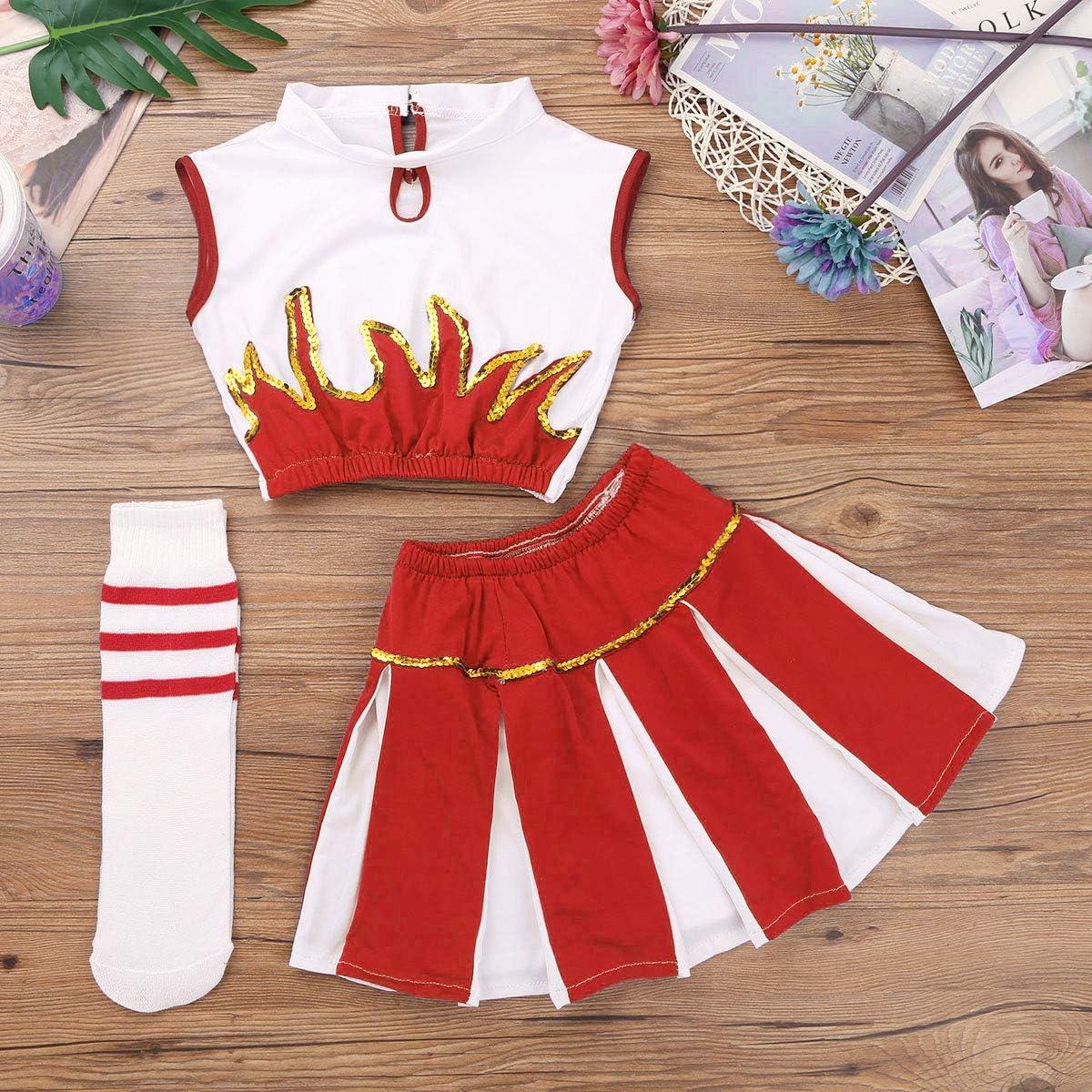 CHICTRY Girls Children Cheer Uniform Sequin Red Star School Dance Camp Cheerleading Cosplay Costumes