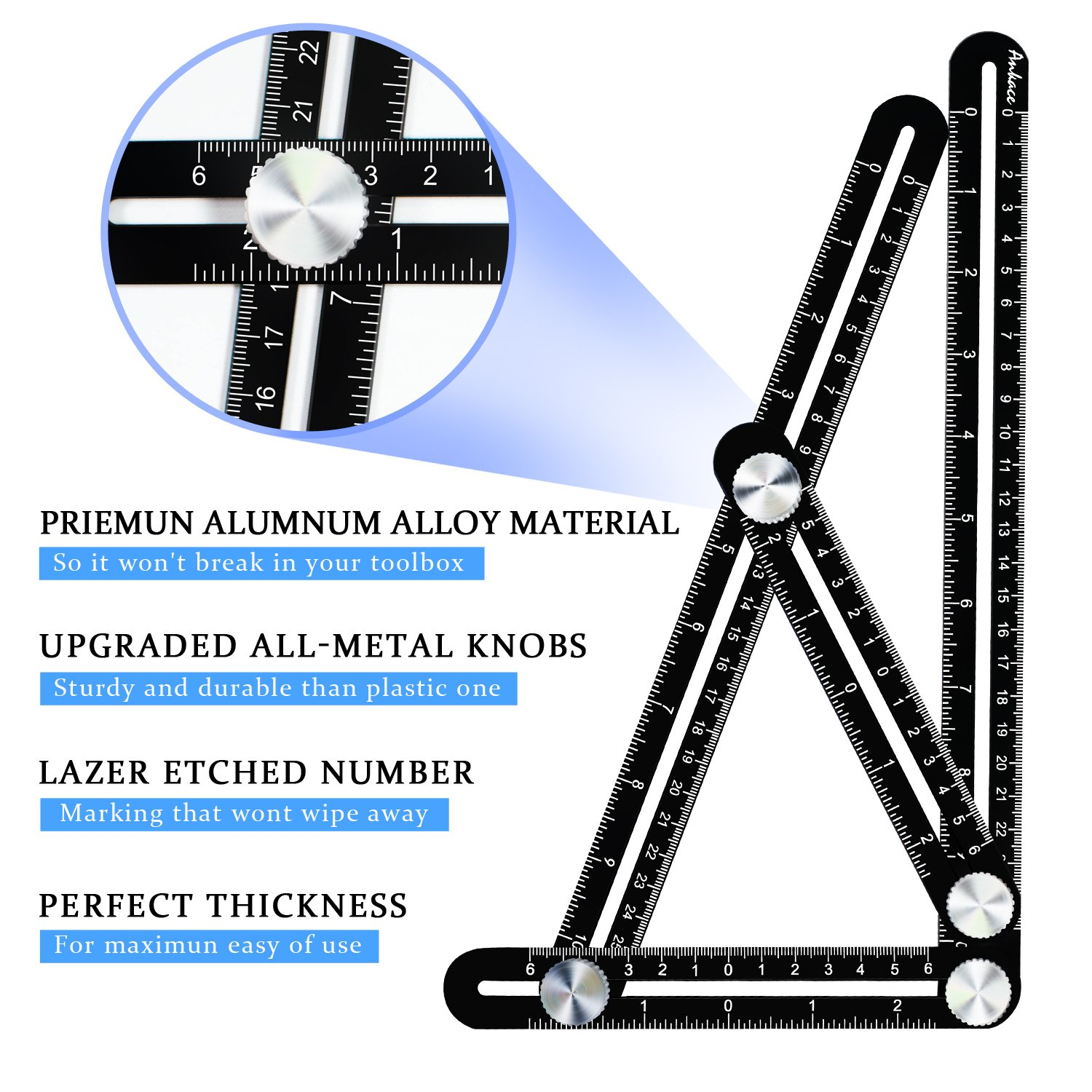 Multi Angle Measuring Ruler, Ankace Premium Aluminum Alloy Ultimate 836 Angleizer Template Tool/Layout Tool Measurement for Handymen, Builders, Craftsmen, DIY-ers, Black by Ankace (Image #4)