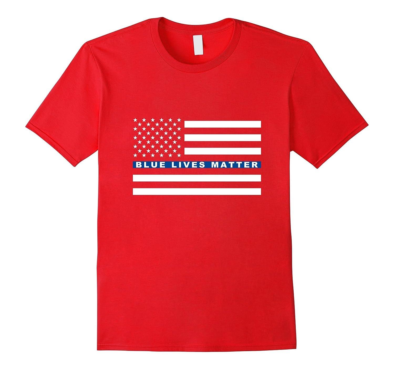 Blue Lives Matter T-Shirt - Thin Blue Line Flag - Police-RT