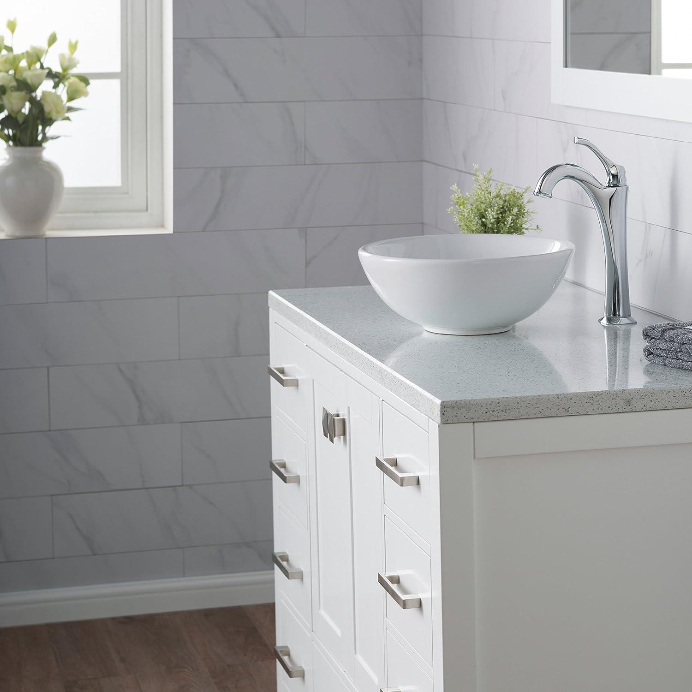 Kraus KCV-341 Elavo White Ceramic Small Round Vessel Bathroom Sink ...