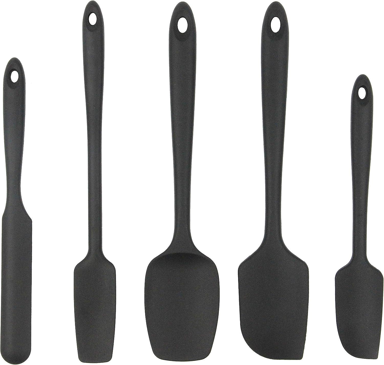 Cooptop 5 Piece Silicone Spatula Set - Rubber Spatula - Heat Resistant Baking Spoon & Spatulas - Pro Grade Non-Stick Silicone with Steel Core (Black)