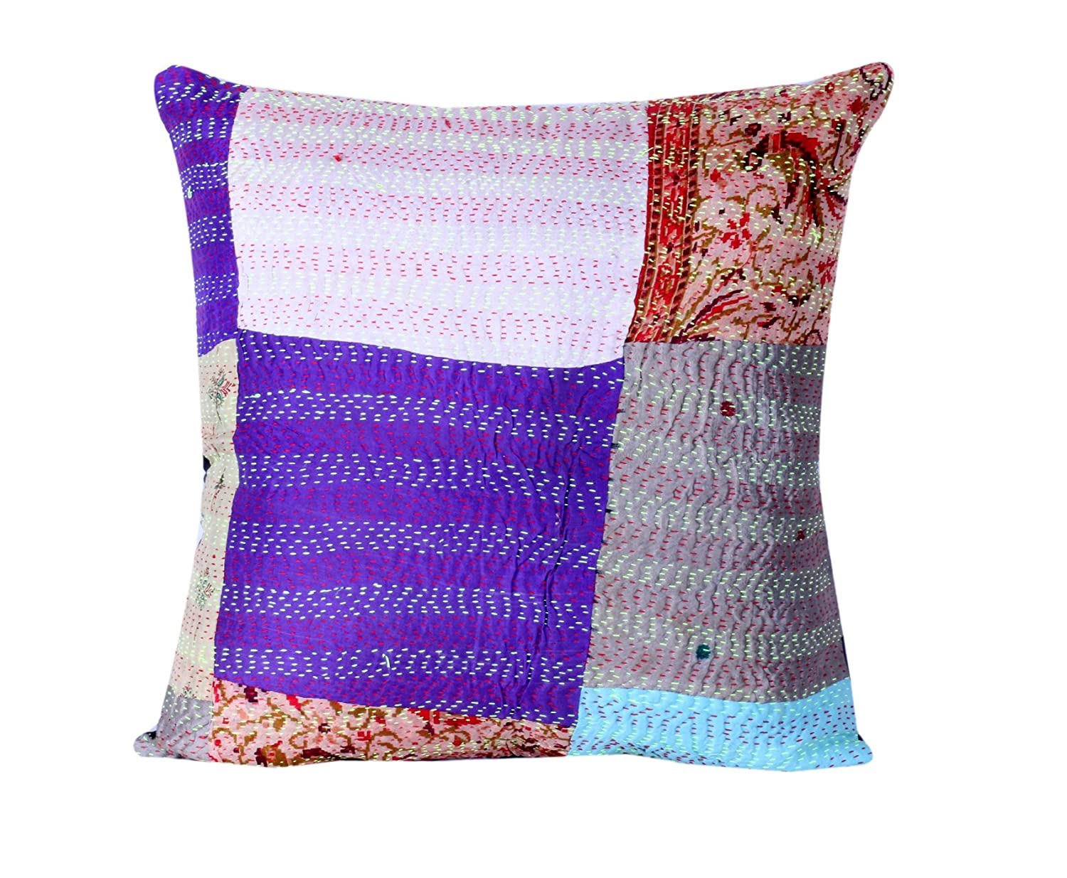 16 x 16 Inch Decorative Cushion Covers Indistar Set of 2 Throw Pillow Cover Silk Patchwork Cushion Covers with Traditional Indian Kantha Work