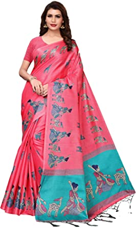 Indian Saree Sari Kalamkari Khadi Silk Party Bollywood Ethnic Print with Blouse