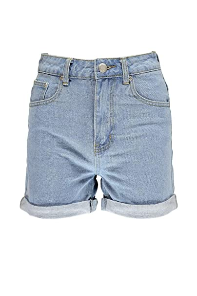a6e6472ae21 Boohoo Womens Rose Roll Up Hem Vintage Mom Shorts in Blue size 2 ...