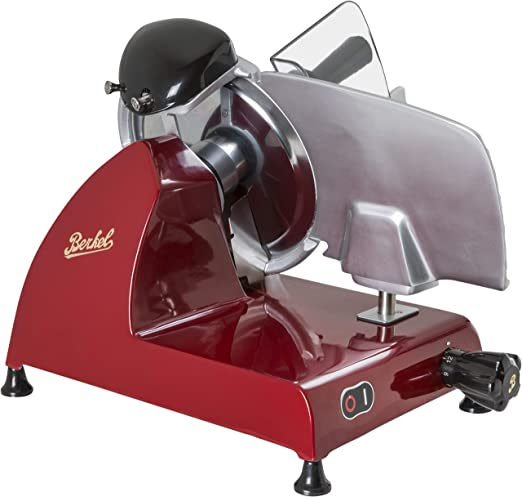 Amazon Com Berkel Red Line 250 Food Slicer Red 10 Blade Electric Food Slicer Slices Prosciutto Meat Cold Cuts Fish Ham Cheese Bread Fruit And Veggies Has An Adjustable Thickness Dial Kitchen