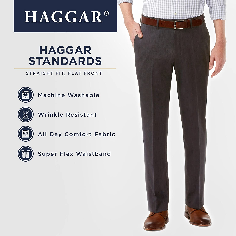 Haggar Mens Standards Solid Gabardine Superflex Waist Flat Front Pant