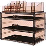 SONGMICS Makeup Organizer 3 Large Drawers Cosmetic Jewelry Storage Display Boxes with 14 Top Compartments 2 Pieces Set Tawny UJMU17T