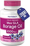 Borage Oil Capsules 2000 mg   120 Softgels   380mg of GLA   Cold Pressed Seed Oil Supplement   by Horbaach