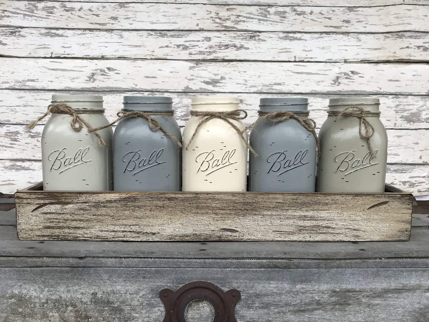 Mason Canning Jar Kitchen Farmhouse Table Centerpiece with 5 Hand Painted Ball QUART Jars in Distressed Wood Tray rusty handles *Antique White Red Brown Blue -BEAUTIFUL Hydrangea Flowers are optional by Wooden Hearts (Image #2)
