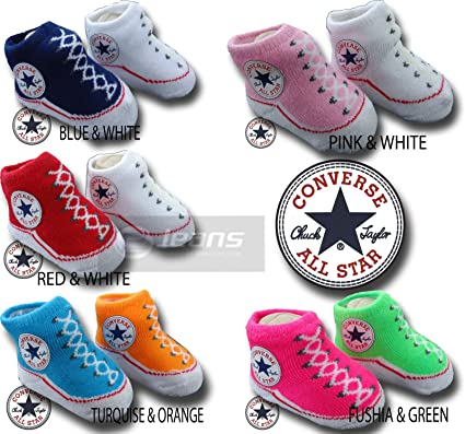 78d7e1ee6070 Image Unavailable. Image not available for. Colour  INFANT BOOTIES BABY  UNISEX CONVERSE SOCKS ...