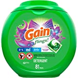 Gain Flings Moonlight Breeze Laundry Detergent Packs, 81 Count - New Model, Gain Flings Moonlight Breeze Laundry Pacs (852935