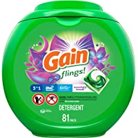 Gain flings! Laundry Detergent Pacs plus Aroma Boost, Moonlight Breeze Scent, HE Compatible, 81 Count (Packaging May…