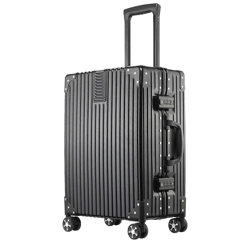 (アスボーグ)ASVOGUE スーツケース キャリーケース TSAロック 半鏡面仕上げ アライン加工 アルミフレーム レトロ 旅行 出張 軽量 静音 ファスナーレス 機内持込可 保護カバー付き B078VR7SZ5 XL|ブラック ブラック XL