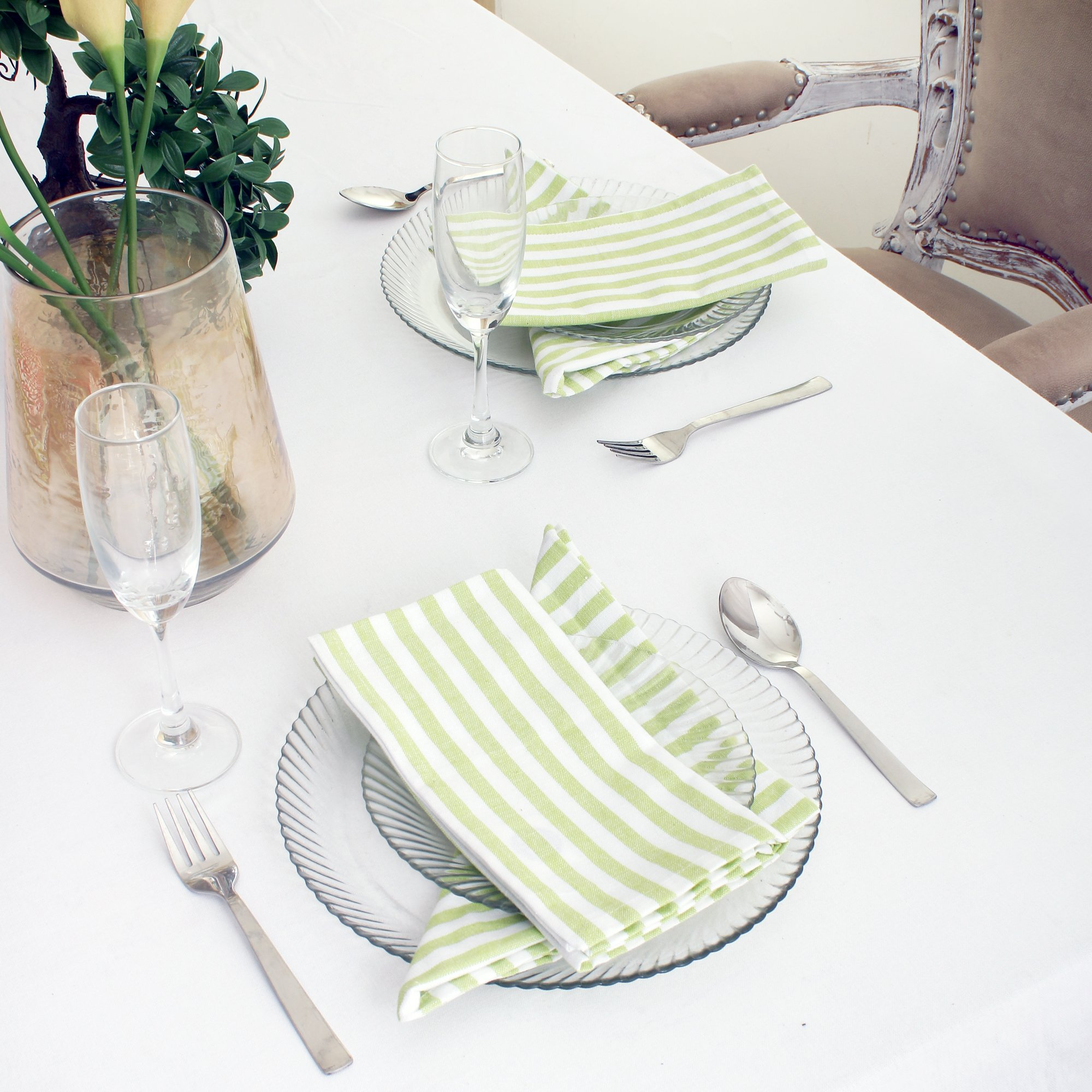 Cotton Dinner Napkins Green & White Stripe, Set of 12 (20 x 20 Inches), Over Sized, Embroidery And Print, Lint Free, Quick Dry, Hemmed With Mitered Corners