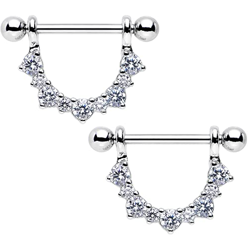Body Candy Stainless Steel Clear Accent Semicircle Dangle Nipple Ring Set 14 Gauge 5 8