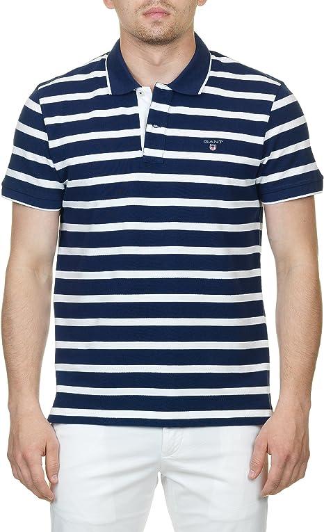 Gant O1. Breton Stripe Pique SS Rugger, Polo para Hombre, Azul ...