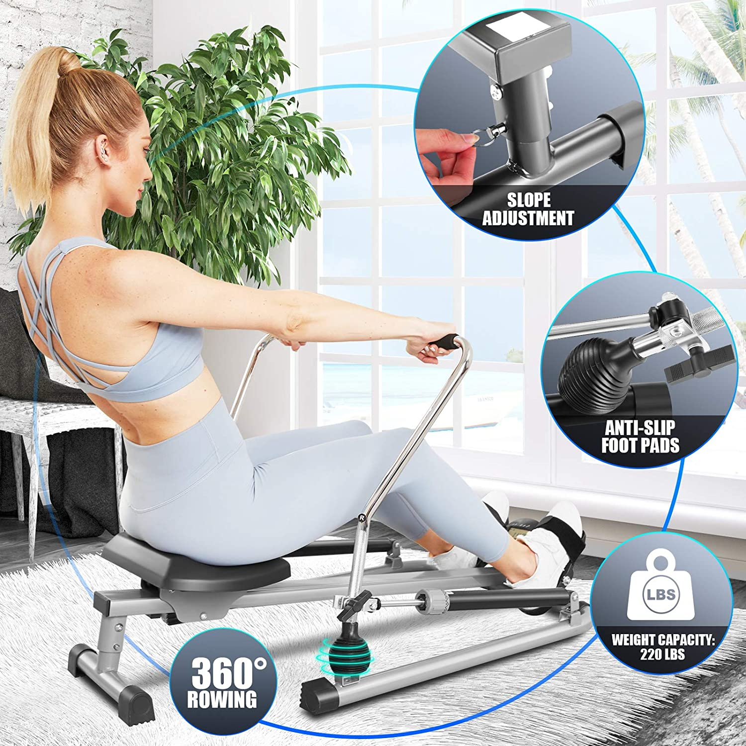 Home//Apartment Full Motion Adjustable Rower with 12 Level Resistance /& Soft Seat /& LCD Monitor /& 45 Inch Long Rail for Indoor Cardio Exercise Silver ANCHEER Hydraulic Rowing Machine