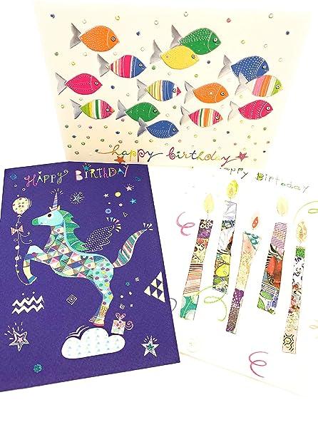 3 tarjetas de felicitación de cumpleaños - tarjetas de ...