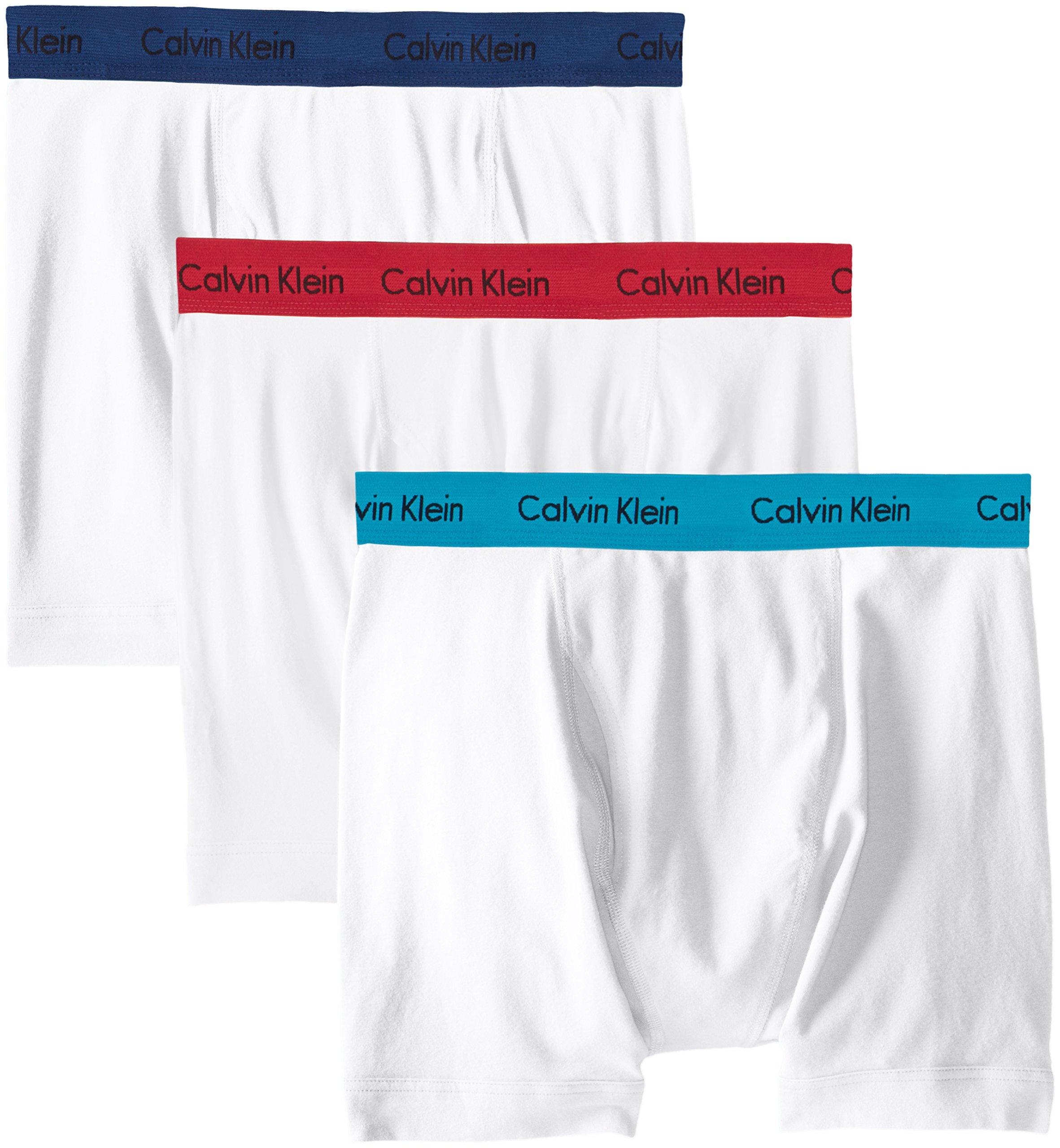 Calvin Klein Men's Cotton Stretch Boxer Briefs, White/Seaway/Estate Blue/Cerise Large