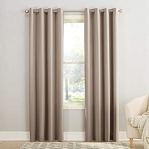 "Sun Zero Barrow Energy Efficient Grommet Curtain Panel, 54"" x 63"", Stone"