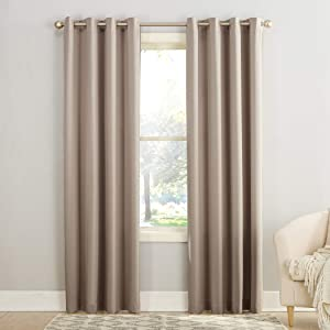"Sun Zero Barrow Energy Efficient Grommet Curtain Panel, 54"" x 84"", Stone"