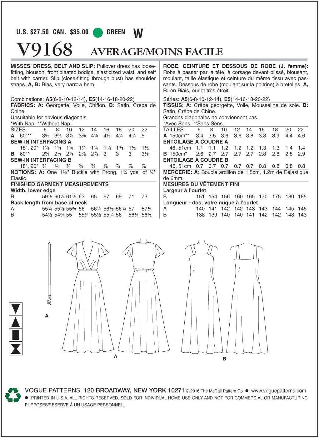 14-16-18-20-22 Multi-Colour, VOGUE PATTERNS 9168 E5,Misses Dress,Belt and Slip,Sizes 14-22