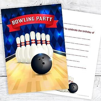 olivia samuel bowling party birthday invitations kids ten pin