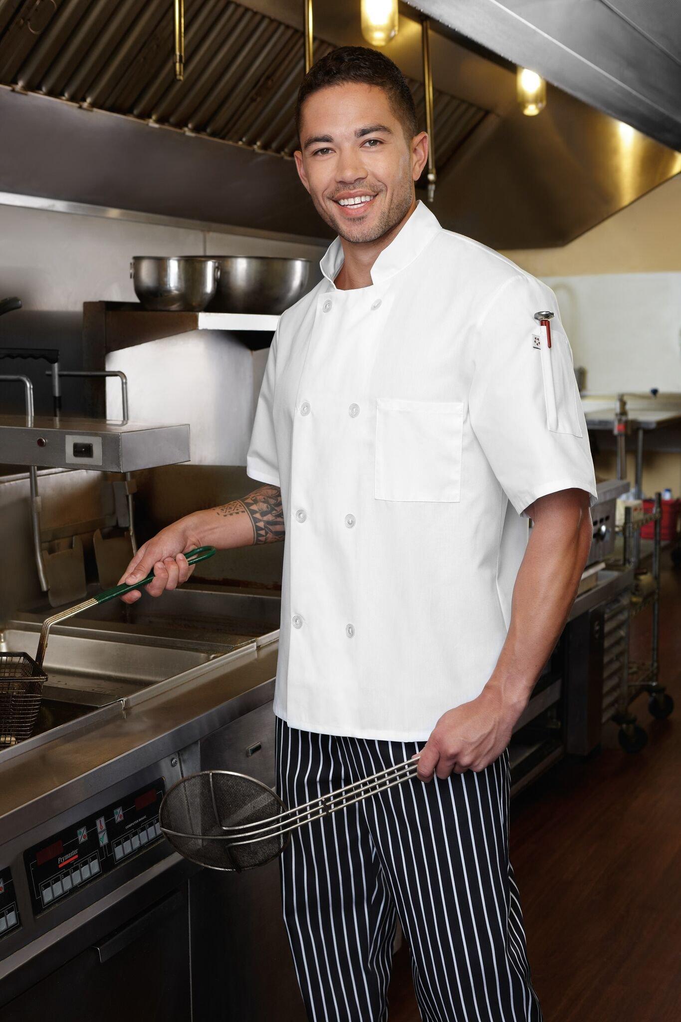 Five Star 18001 Unisex Short Sleeve Chef Jacket (Black, X-Large)