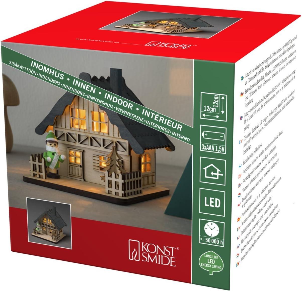 batteriebetrieben LED Holzsilhouette naturfarben 3230-100 Konstsmide Fachwerkhaus mit Weihnachtsbaum und oranger Figur 4 warm wei/ße Dioden Innen