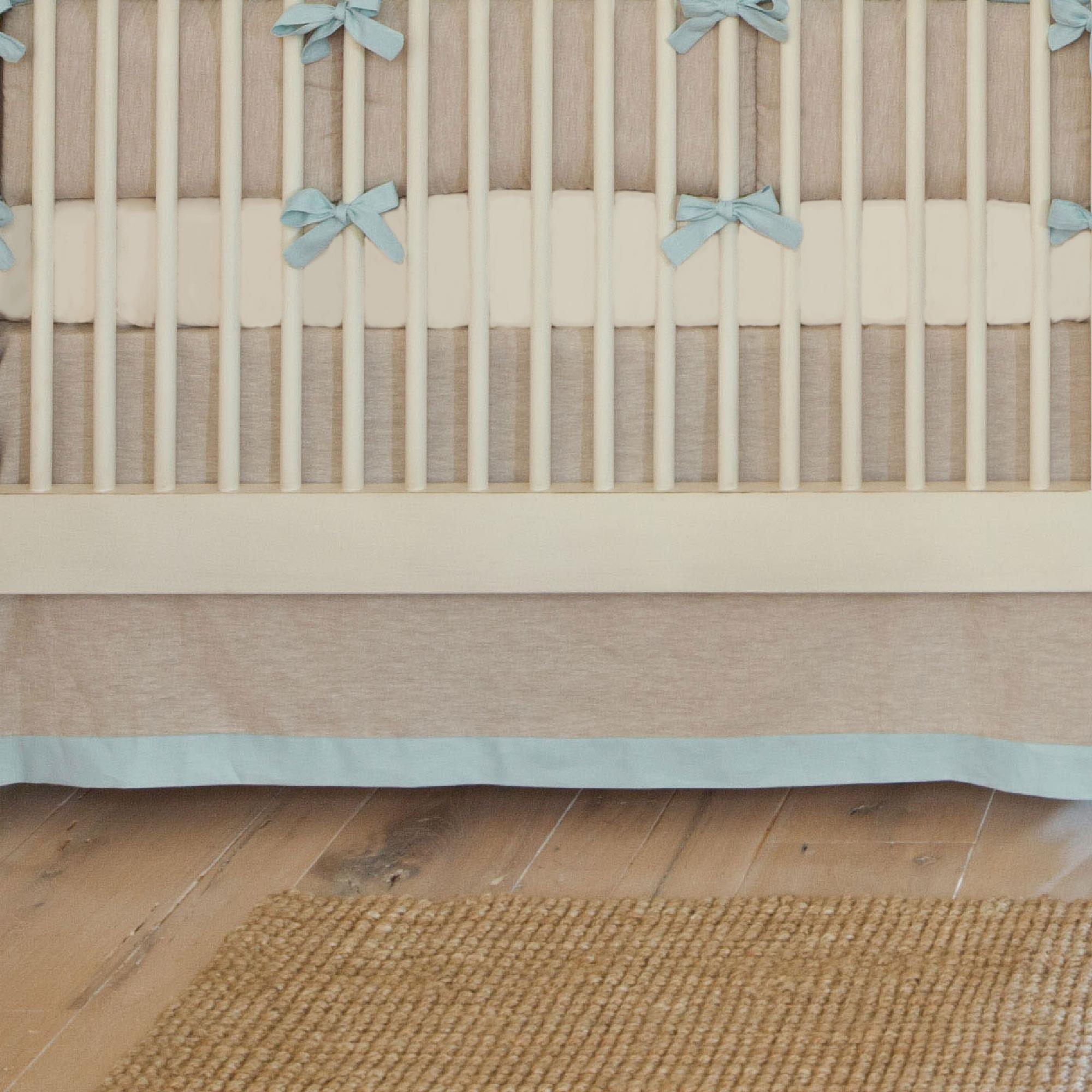 Carousel Designs Light Blue Linen Crib Skirt Straight 14-Inch Length