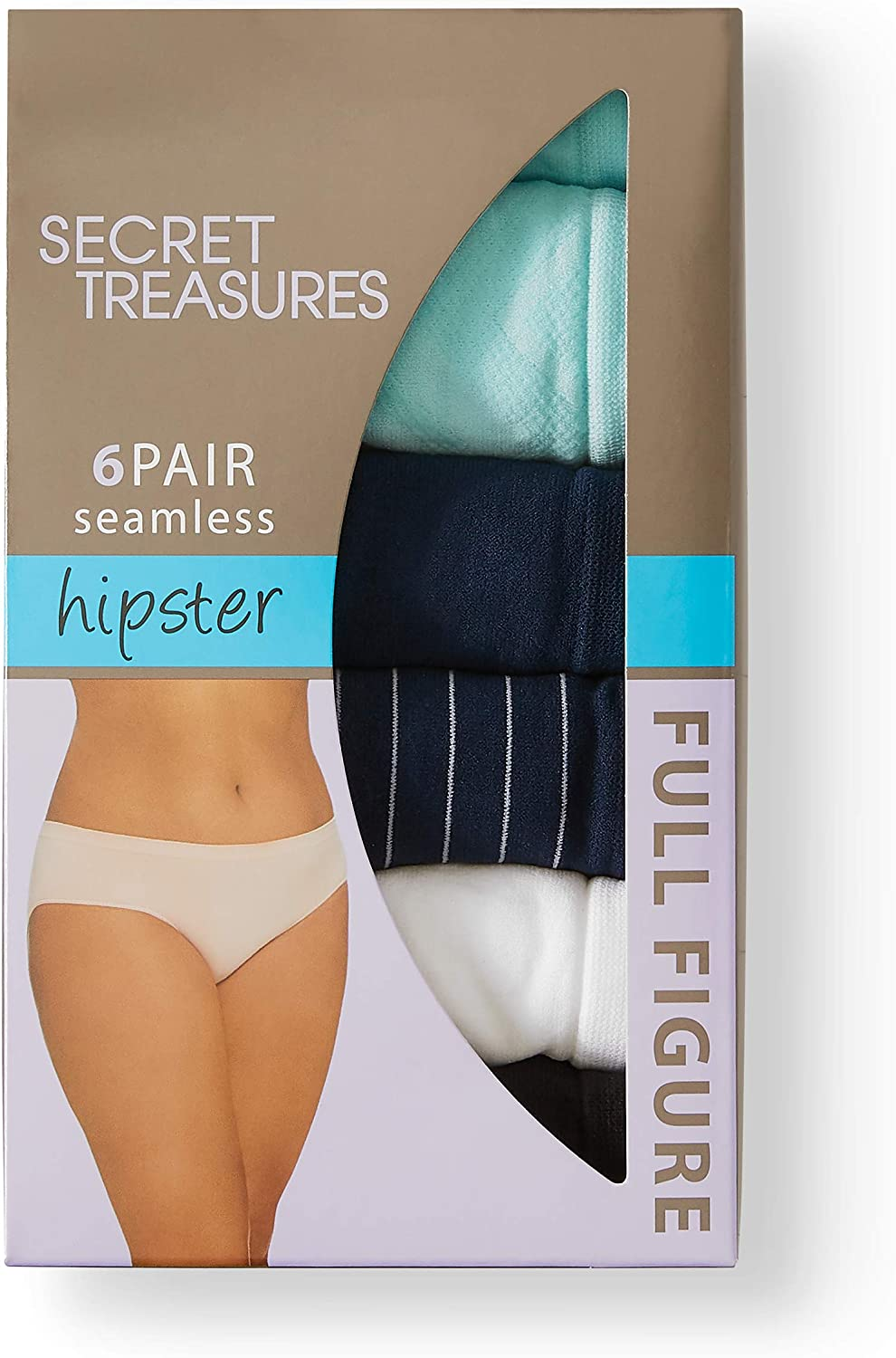 POLKA SOLID PRINT *NEW LOT OF 2 SECRET TREASURES 6 PACK HIPSTER STRETCH PANTIES