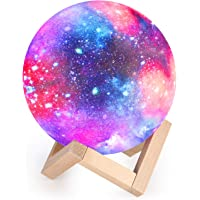 Moon Lamp Kids Night Light Galaxy Lamp 5.9 inch 16 Colors LED 3D Star Moon Light with Wood Stand, Touch & Remote Control…