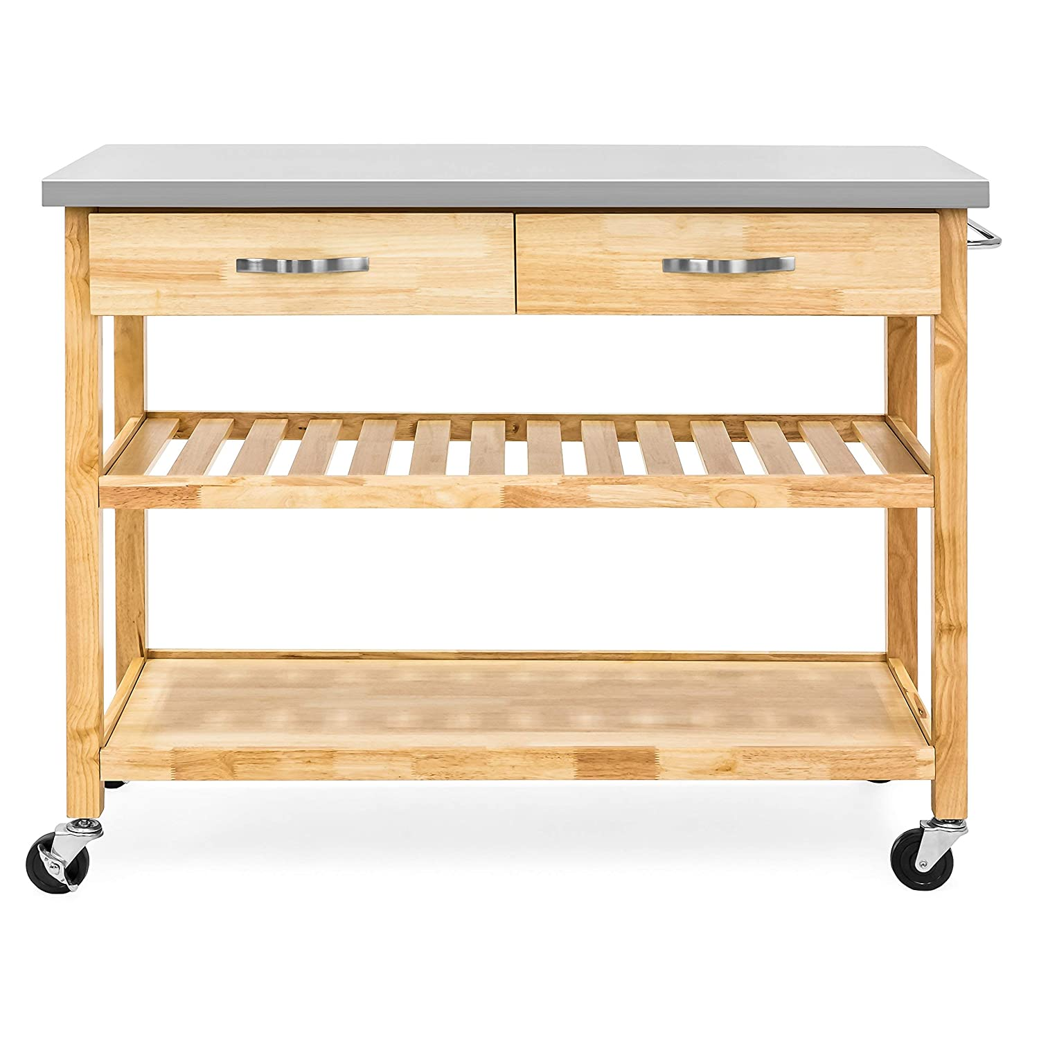 Rolling wood and steel kitchen utility cart