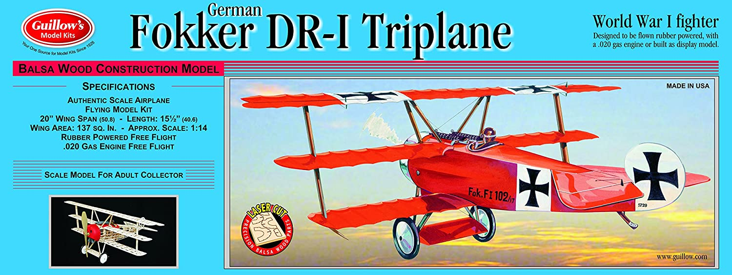 Guillow's Fokker DR1 Triplane Laser Cut Model Kit