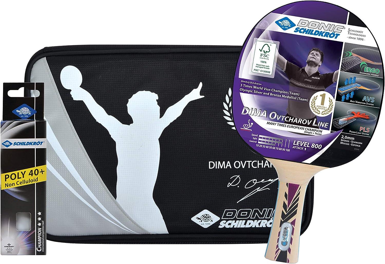 Donic-Schildkröt Set Premium de Tenis de Mesa Ovtcharov 800, 1 Raqueta, 3 Pelotas 3 Estrellas-ITTF, Valioso Funda, Juego Completo, 788482